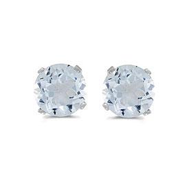 14k White Gold Round Aquamarine Stud Earrings