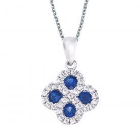 14k White Gold Sapphire and .13 ct Diamond Clover Pendant