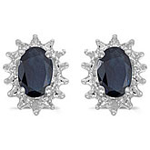14k White Gold Oval Sapphire And Diamond Earrings