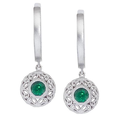 14k White Gold Emerald Filigree Huggy Earrings