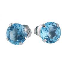 14k White Gold 6mm Round Blue Topaz Stud Earrings (2.00 ct)