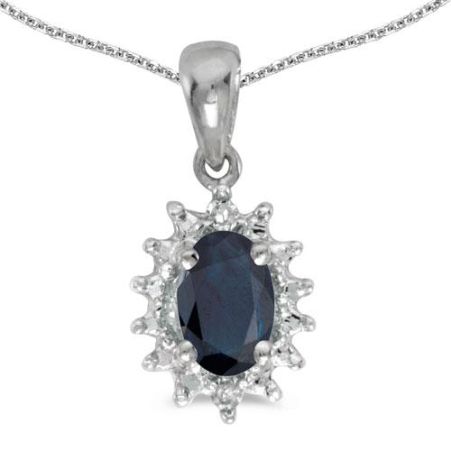 14k White Gold Oval Sapphire And Diamond Pendant