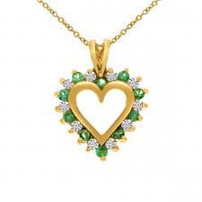 14k Yellow Gold Emerald and Diamond Heart Shaped Pendant