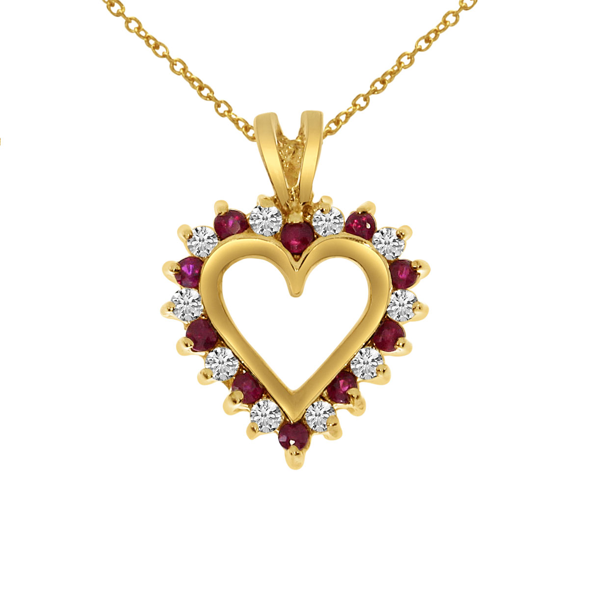 14k Yellow Gold Ruby and Diamond Heart Shaped Pendant