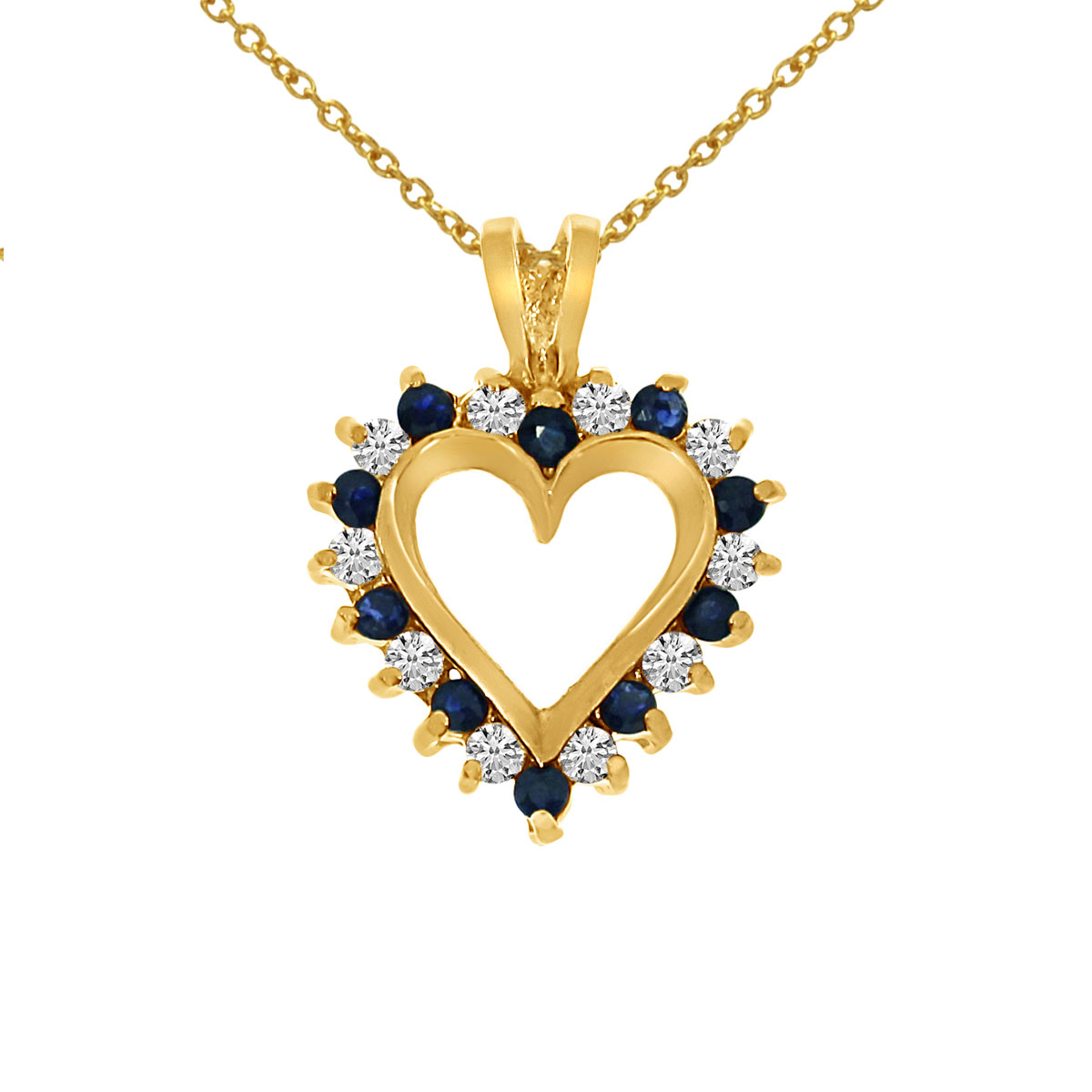 14k Yellow Gold Sapphire and Diamond Heart Shaped Pendant