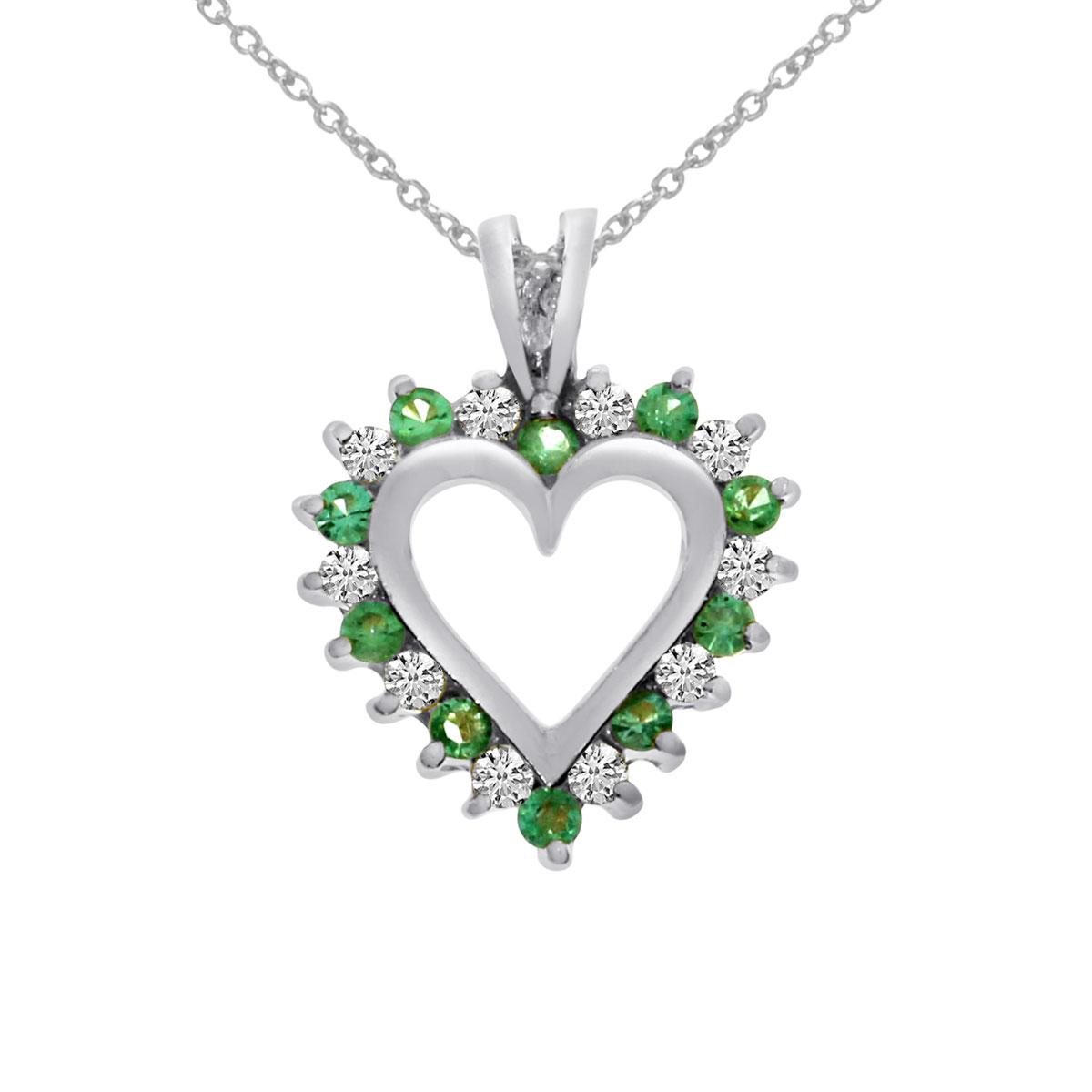 14k White Gold Emerald and Diamond Heart Shaped Pendant