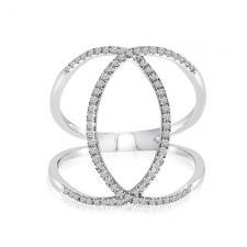 14k White Gold Negative Space Marquise Shaped Diamond Fashion Ring